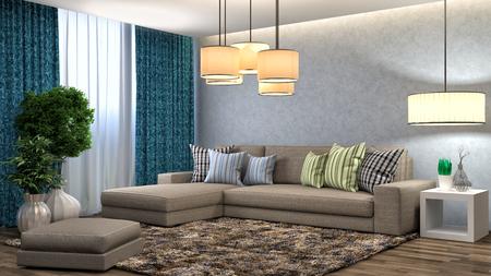 interior with brown sofa. 3d illustration Stockfoto