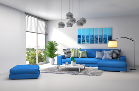 white sofa: interior with blue sofa. 3d illustration