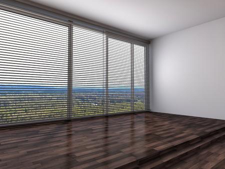 large window: white interior with large window. 3d illustration Stock Photo