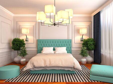 morado: Interior del dormitorio. 3d ilustraci�n