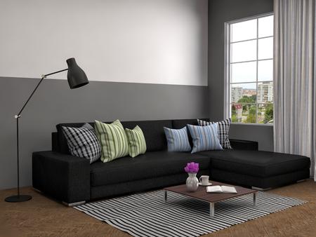sofa: interior with black sofa. 3d illustration