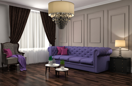 furniture design: interior with purple sofa. 3d illustration Stock Photo
