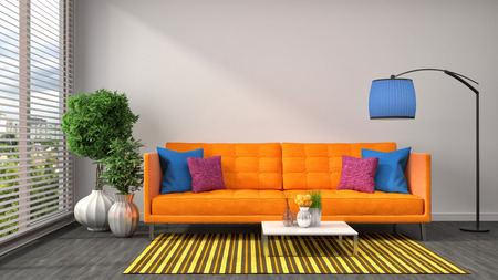 interior with orange sofa. 3d illustration Stock Photo