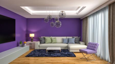 morado: interior con sof�. 3d ilustraci�n