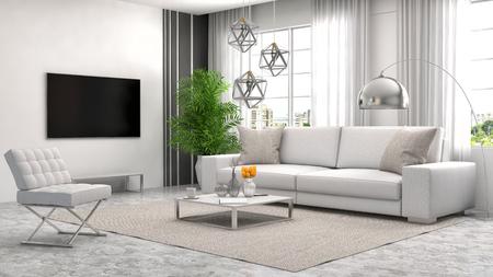 white sofa: interior with white sofa. 3d illustration