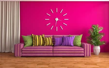 couch wall: interior with pink sofa. 3d illustration