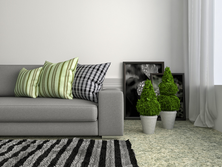 modern sofa: interior with grey sofa. 3d illustration