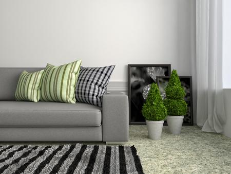 sofa: interior with grey sofa. 3d illustration