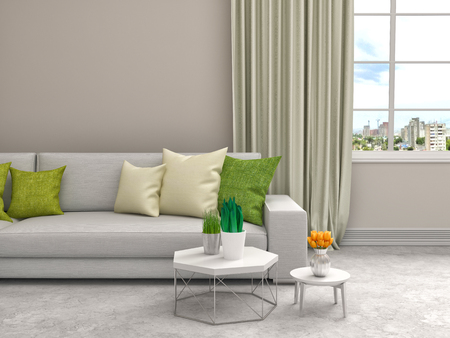 green couch: interior with white sofa. 3d illustration
