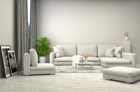 白いソファとインテリア。3 d イラストレーション
