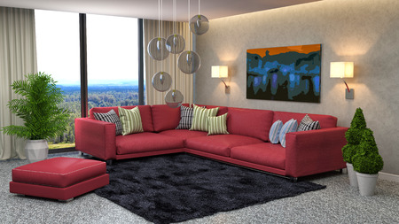 red sofa: interior with red sofa. 3d illustration