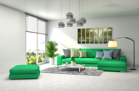 green sofa: interior with green sofa. 3d illustration Stock Photo