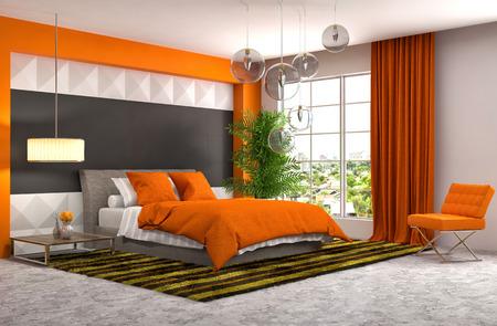 chambre � coucher: Int�rieur de la chambre. 3d illustration Banque d'images