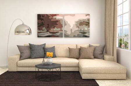 interior with brown sofa. 3d illustration Stok Fotoğraf