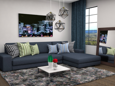 front room: interior with blue sofa. 3d illustration