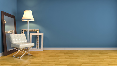 empty room: interior with chair. 3d illustration Stock Photo
