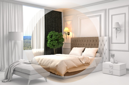 modern architecture: Bedroom interior with CAD wireframe mesh. 3D Illustration Stock Photo