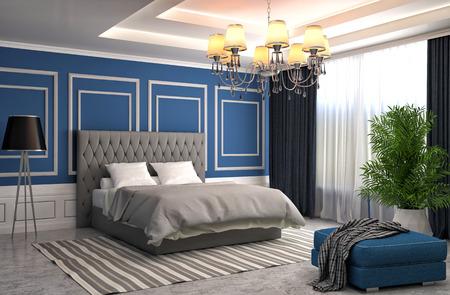 interior bedroom: Bedroom interior. 3d illustration