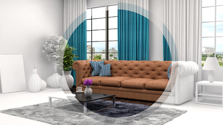 cad: interior with sofa and CAD wireframe mesh. 3d illustration Stock Photo