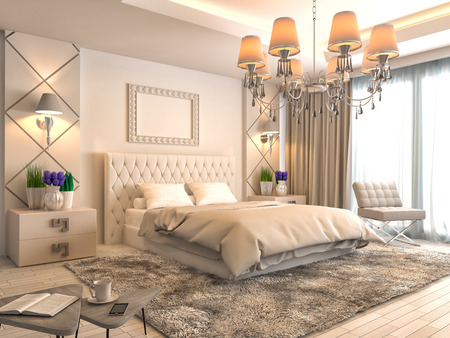 luxury hotel room: Bedroom interior. 3d illustration