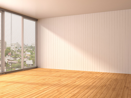 rendering: white interior with large window. 3d illustration Stock Photo