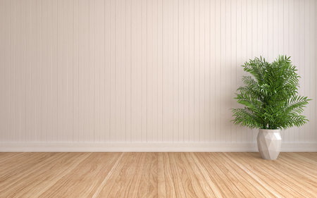 white interior with plant. 3D illustration