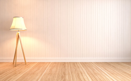 living room wall: empty interior with lamp included. 3d illustration