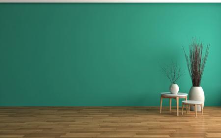 empty green interior. 3d illustration
