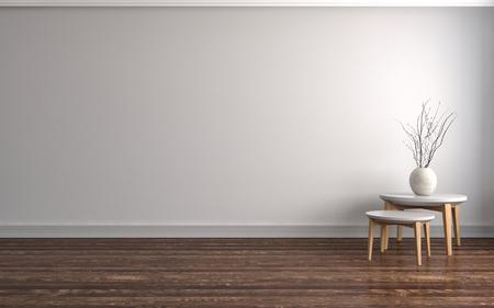 빈 흰색 인테리어입니다. 3D 그림