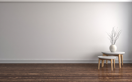 empty white interior. 3d illustration