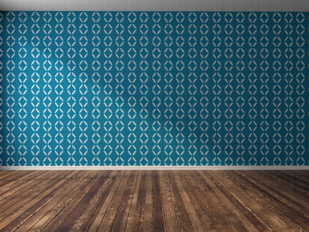modern lifestyle: interior with blue wall. 3d illustration Stock Photo