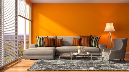naranja: interior con sofá. 3d ilustración