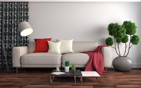white sofa: interior with sofa. 3d illustration