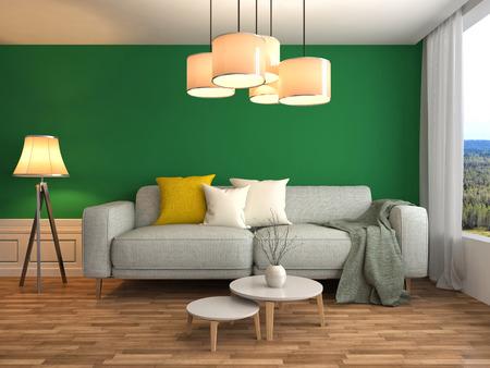 comfortable sofa: interior with sofa. 3d illustration