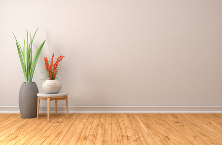 wall light: empty white interior. 3d illustration