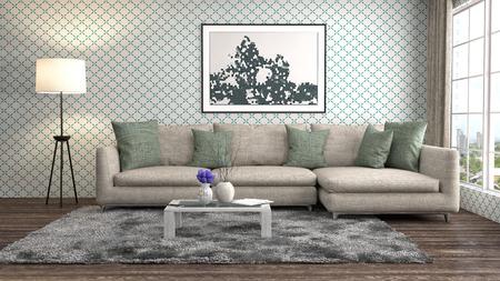 interno con divano. 3d