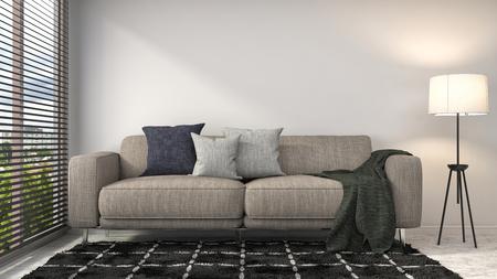 wall decor: interior with sofa. 3d illustration