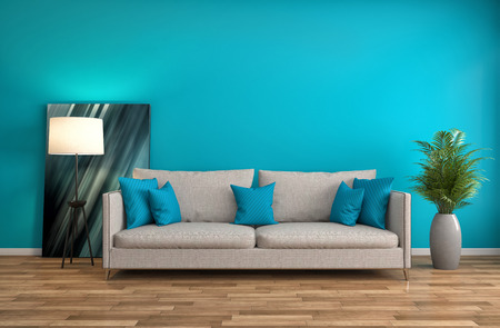green couch: interior with sofa. 3d illustration