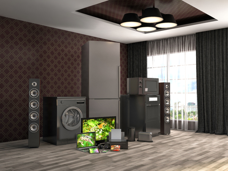 gas appliances: Home appliances. Gas cooker, tv cinema, refrigerator, microwave, laptop and washing machine. 3d illustration