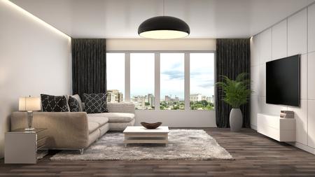 living apartment: interior with sofa. 3d illustration