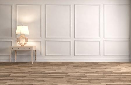 console tafel in een klassieke woonkamer interieur. 3D illustratie Stockfoto