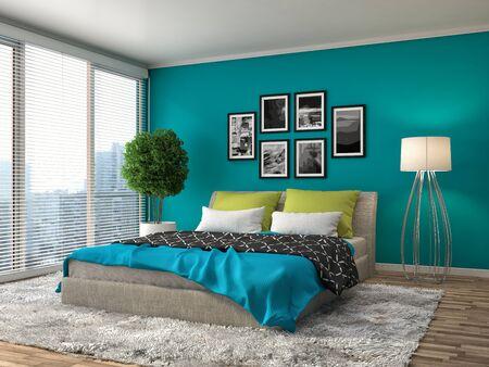 Bedroom interior. 3d illustration Banco de Imagens