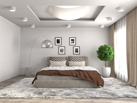 apartment interior: Bedroom interior. 3d illustration