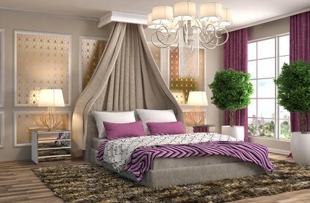 hotel interior: Bedroom interior. 3d illustration