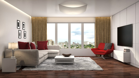 APARTMENT LIVING: interior with sofa. 3d illustration