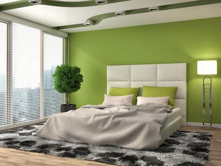 침실 인테리어. 3D 그림