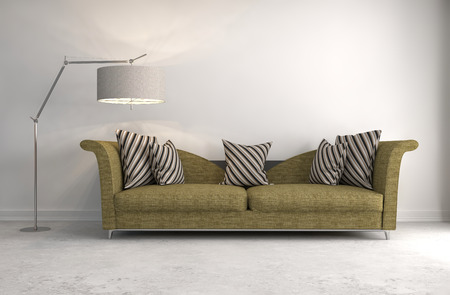 contemporary living room: interior with sofa. 3d illustration