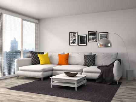 interior furniture: interior with sofa. 3d illustration