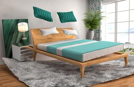 gravedad: cama cero gravedad flotando en la sala de estar. 3d ilustración