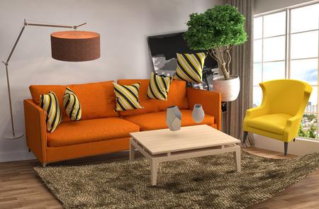 無重力のソファは、リビング ルームでホバリングします。3 D イラストレーション 写真素材